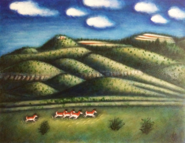 """Painting titled """"Where the Antelope…"""" by Heidi Shaulis, Original Art, Oil"""