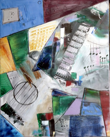 """Painting titled """"guitare-a-travers-c…"""" by Helene Rousselot, Original Art,"""