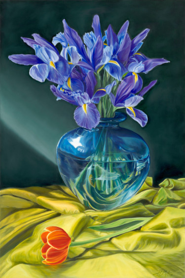 """Painting titled """"Blue Reflections"""" by Helen Mitra, Original Art, Oil"""