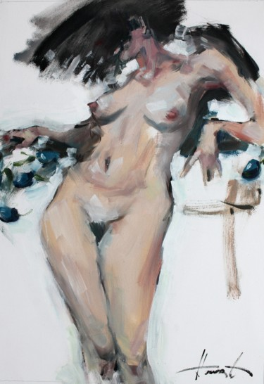 Nude Painting, oil, expressionism, artwork by Henadzy Havartsou