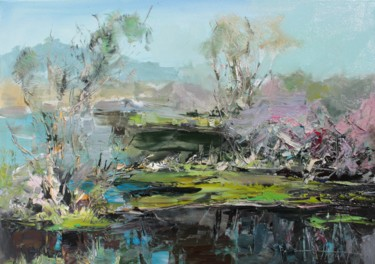 """Painting titled """"Lake on a spring mo…"""" by Henadzy Havartsou, Original Art, Oil Mounted on Stretcher frame"""