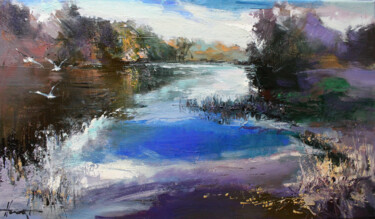 """Painting titled """"River in autumn"""" by Henadzy Havartsou, Original Art, Oil Mounted on Stretcher frame"""