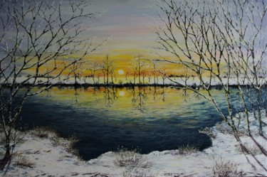 """Painting titled """"End of a Winters Day"""" by Hazel Thomson, Original Art, Oil"""