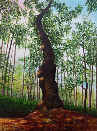 """Painting titled """"Twisted Tree"""" by Hazel Thomson, Original Art, Oil"""