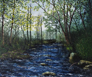 """Painting titled """"Forest River"""" by Hazel Thomson, Original Art, Oil"""