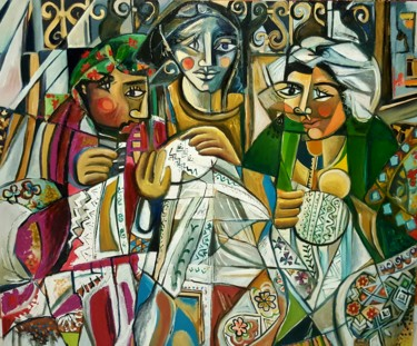 Asia Painting, oil, cubism, artwork by Hind Elamaoui