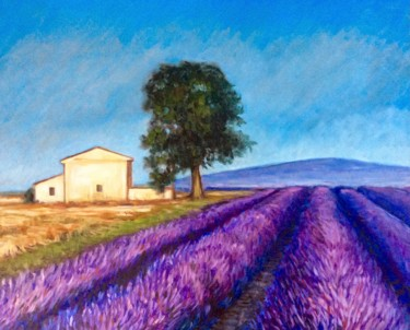 """Painting titled """"Lavender fields at…"""" by Hilary J England, Original Art, Oil"""