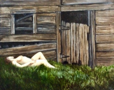 """Painting titled """"Old Barn and Female…"""" by Hilary J England, Original Art, Oil"""