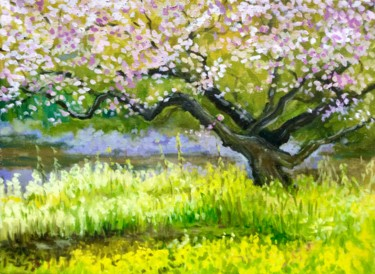 """Painting titled """"Cherry Blossoms in…"""" by Hilary J England, Original Art, Oil"""
