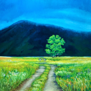 """Painting titled """"Country Road in the…"""" by Hilary J England, Original Art, Oil"""