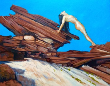 """Painting titled """"Flexed Female Nude…"""" by Hilary J England, Original Art, Oil"""