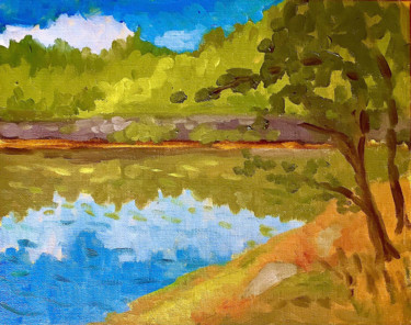"""Painting titled """"A Sunny Summer Day…"""" by Hilary J England, Original Art, Oil"""