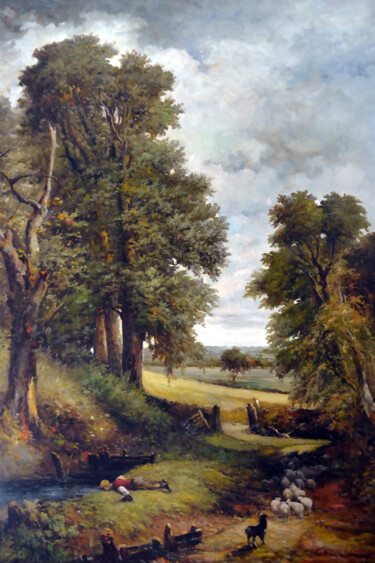 """Painting titled """"The Forest and Shep…"""" by Clement Tsang, Original Art, Oil"""