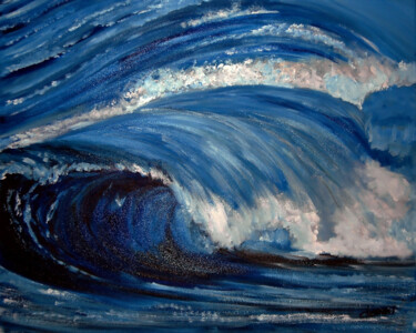 """Painting titled """"The Big Wave"""" by Clement Tsang, Original Art, Oil"""