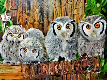 """Painting titled """"Family of Four Snow…"""" by Clement Tsang, Original Art, Oil"""