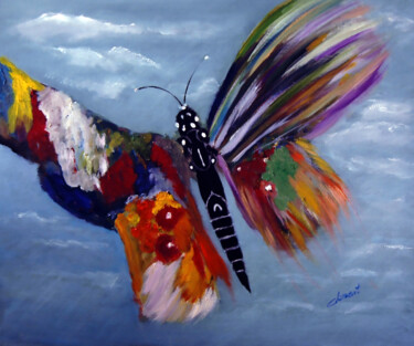 """Painting titled """"The Happy Butterfly"""" by Clement Tsang, Original Art, Oil"""