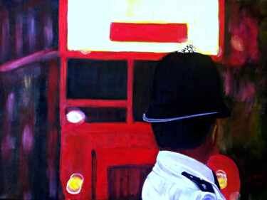 """Painting titled """"London Bus and Poli…"""" by Clement Tsang, Original Art, Oil"""