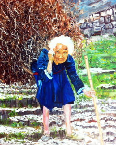 """Painting titled """"An Old Woman"""" by Clement Tsang, Original Art, Oil"""