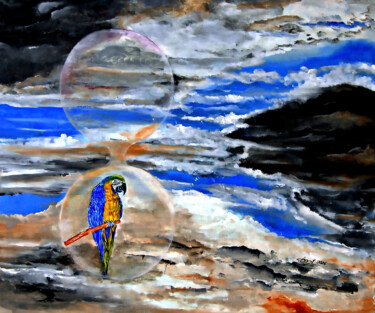"""Painting titled """"Parrot inside the B…"""" by Clement Tsang, Original Art, Oil"""