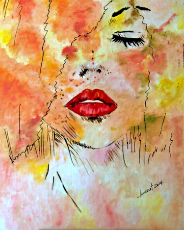 """Painting titled """"Lady with Red Lips"""" by Clement Tsang, Original Art, Oil"""