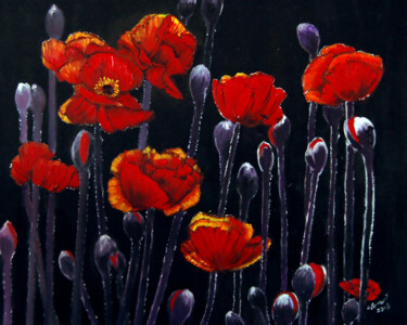 """Painting titled """"Red Poppy"""" by Clement Tsang, Original Art, Oil"""