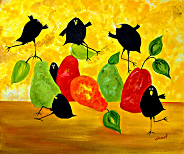"""Painting titled """"Black Crows and Pea…"""" by Clement Tsang, Original Art, Oil"""