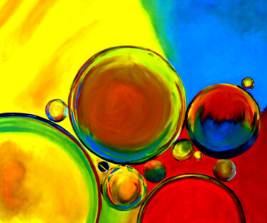 """Painting titled """"Colorful Bubbles"""" by Clement Tsang, Original Art, Oil"""
