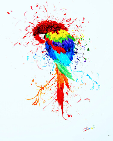 """Painting titled """"Colourful Parrot"""" by Clement Tsang, Original Art, Oil"""