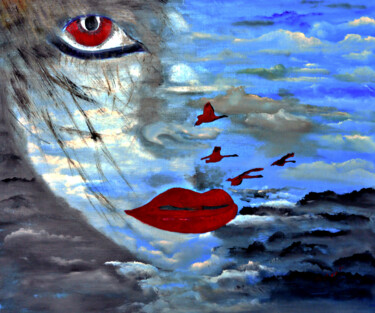 """Painting titled """"Lady and Blue Sky"""" by Clement Tsang, Original Art, Oil"""