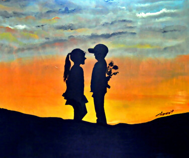 """Painting titled """"Young Couples"""" by Clement Tsang, Original Art, Oil"""