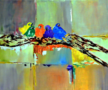 """Painting titled """"Five  Baby Birds"""" by Clement Tsang, Original Art, Oil"""