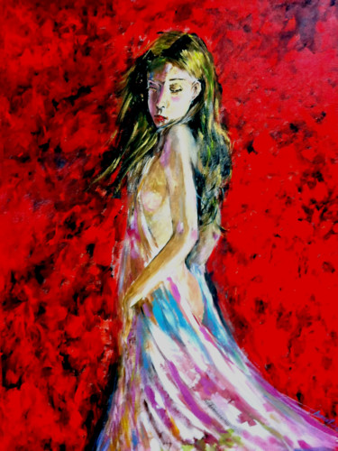 """Painting titled """"Lady in Red"""" by Clement Tsang, Original Art, Acrylic"""
