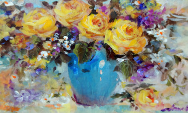 """Painting titled """"Yellow Roses"""" by Clement Tsang, Original Art, Acrylic"""