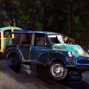 """Painting titled """"Cat and Car"""" by Clement Tsang, Original Art, Acrylic"""