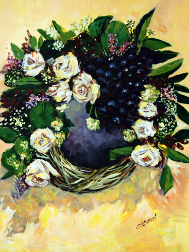 """Painting titled """"Grapes and White Ro…"""" by Clement Tsang, Original Art, Acrylic"""
