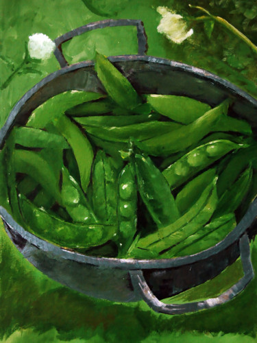 """Painting titled """"Green Beans"""" by Clement Tsang, Original Art, Acrylic"""