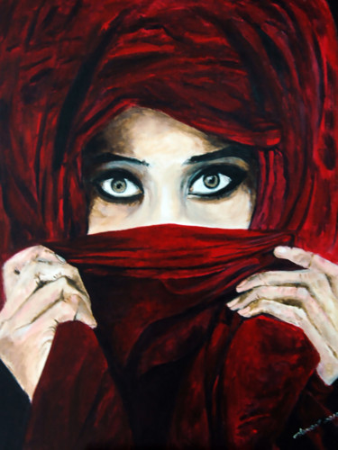 """Painting titled """"Lady from Middle Ea…"""" by Clement Tsang, Original Art, Acrylic"""