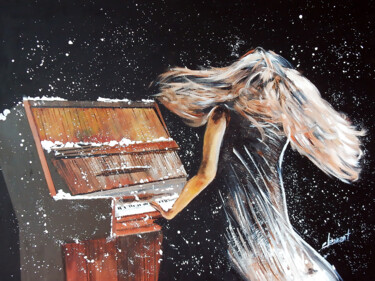 """Painting titled """"Playing Piano under…"""" by Clement Tsang, Original Art, Acrylic"""