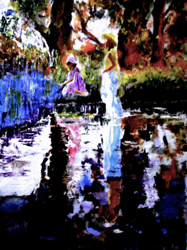 """Painting titled """"Two girls playing i…"""" by Clement Tsang, Original Art, Acrylic"""