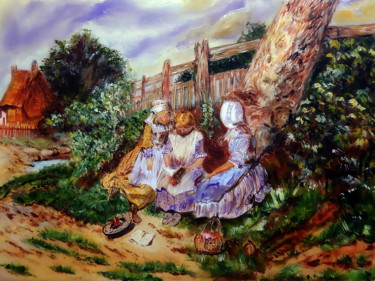 """Painting titled """"Three Girls Reading…"""" by Clement Tsang, Original Art, Acrylic"""