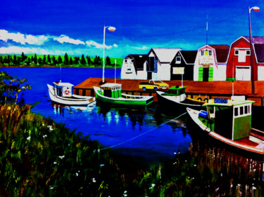 """Painting titled """"The Pier"""" by Clement Tsang, Original Art, Acrylic"""