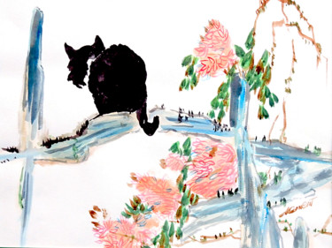 """Painting titled """"Cat on Tree"""" by Clement Tsang, Original Art, Watercolor"""