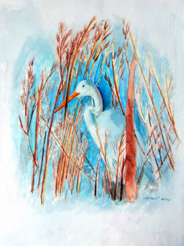 """Painting titled """"Duck in the grass"""" by Clement Tsang, Original Art, Watercolor"""