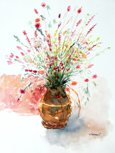 """Painting titled """"Flower"""" by Clement Tsang, Original Art, Watercolor"""