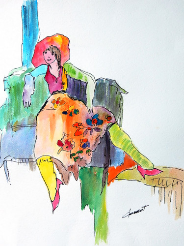 """Painting titled """"My Lady"""" by Clement Tsang, Original Art, Watercolor"""