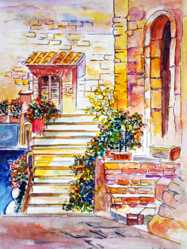 """Painting titled """"House from a Countr…"""" by Clement Tsang, Original Art, Watercolor"""