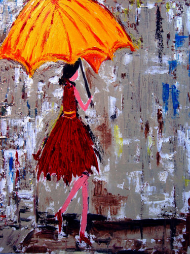 """Painting titled """"Lady walking in the…"""" by Clement Tsang, Original Art, Oil"""