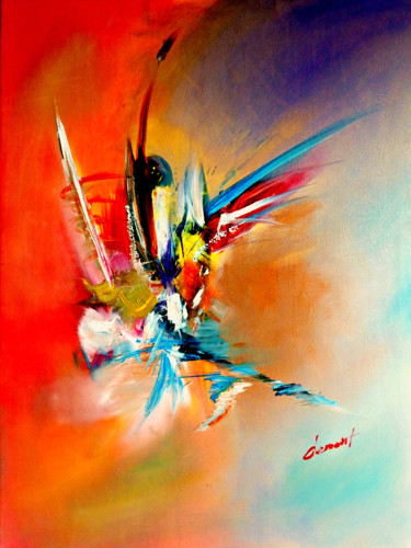 """Painting titled """"Abstract in Orange"""" by Clement Tsang, Original Art, Oil"""