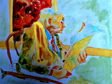 """Painting titled """"Old man reading new…"""" by Clement Tsang, Original Art, Watercolor"""
