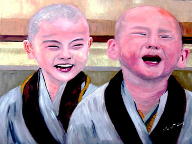 """Painting titled """"Baby Monk"""" by Clement Tsang, Original Art, Oil"""